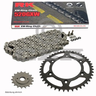 Chain and Sprocket Set KTM SC 625 2002, chain RK 520 GXW 118, open, 15/42