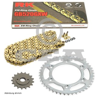 Chain and Sprocket Set KTM SMC 625 2004, chain RK GB 520 GXW 118, open, GOLD, 16/38