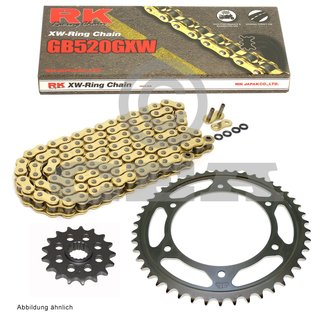 Chain and Sprocket Set KTM Hard Enduro 690 08-17, chain RK GB 520 GXW 116, open, GOLD, 15/45