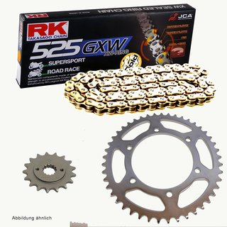 Chain and Sprocket Set KTM Adventure 990 05-09, Chain RK GB525GXW 118, open, GOLD, 17/42