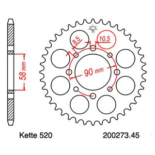 Chain and Sprocket Set KTM Duke 125 11-13, chain RK GB 520 EXW 112, open, GOLD, 14/45