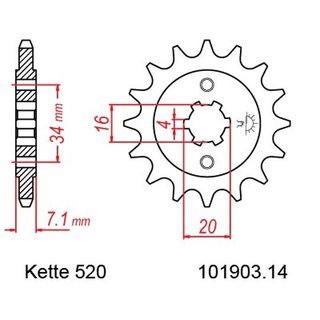 Chain set KTM Duke 125 14-15, chain RK GB 520 XSO 112, open, GOLD, 14/45