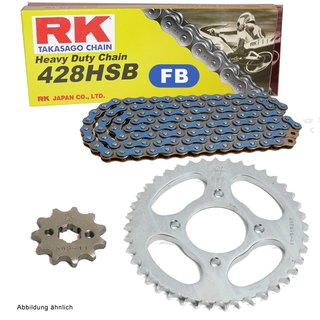 Chain and Sprocket Set KTM XC 85 08-09  chain RK FB 428 SB 124  open  BLUE  14/46