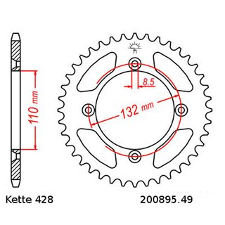 Steel rear sprocket with pitch 428 and 49 teeth JTR895.49