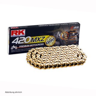 MotoCross Racing chain in GOLD RK GB420MXZ with 136 Links and Clip  Connecting Link  open