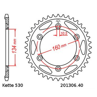 Steel rear sprocket with pitch 530 and 40 teeth JTR1306.40