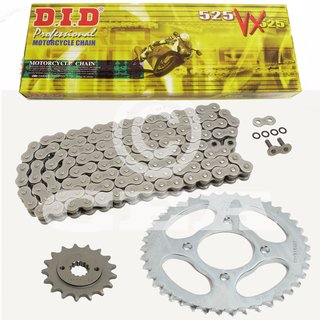 Chain and Sprocket Set Suzuki DL 650 07-11 chain DID 525 VX 118 open 15/47