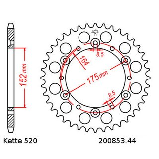 Chain and Sprocket Set Yamaha TT 250 R 03-04  chain DID 520 VX2 106  open  14/44