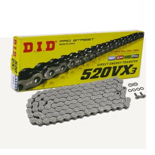 DID X Ring Chain 520VX3 with 118 Links open with Rivet Connecting Link