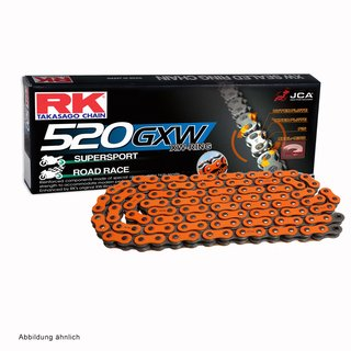 Motorcycle XW Ring Chain in ORANGE RK DD520GXW with 116 Links and Rivet  Connecting Link  open