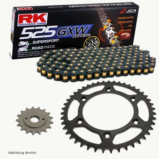 Chain and Sprocket Set Hyosung GT 650 04-15  Chain RK BL 525 GXW 108  open  BLACK SCALE  15/44