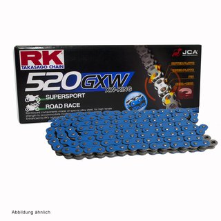 Motorcycle XW Ring Chain in BLUE RK BB520GXW with 114 Links and Rivet  Connecting Link  open