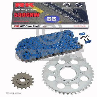 Chain and Sprocket Set Yamaha MT-01 05-12  Chain RK BB 530 GXW 114  BLUE  open  17/39