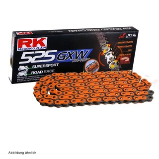 Motorcycle XW Ring Chain in ORANGE RK DD525GXW with 116 Links and Rivet  Connecting Link  open