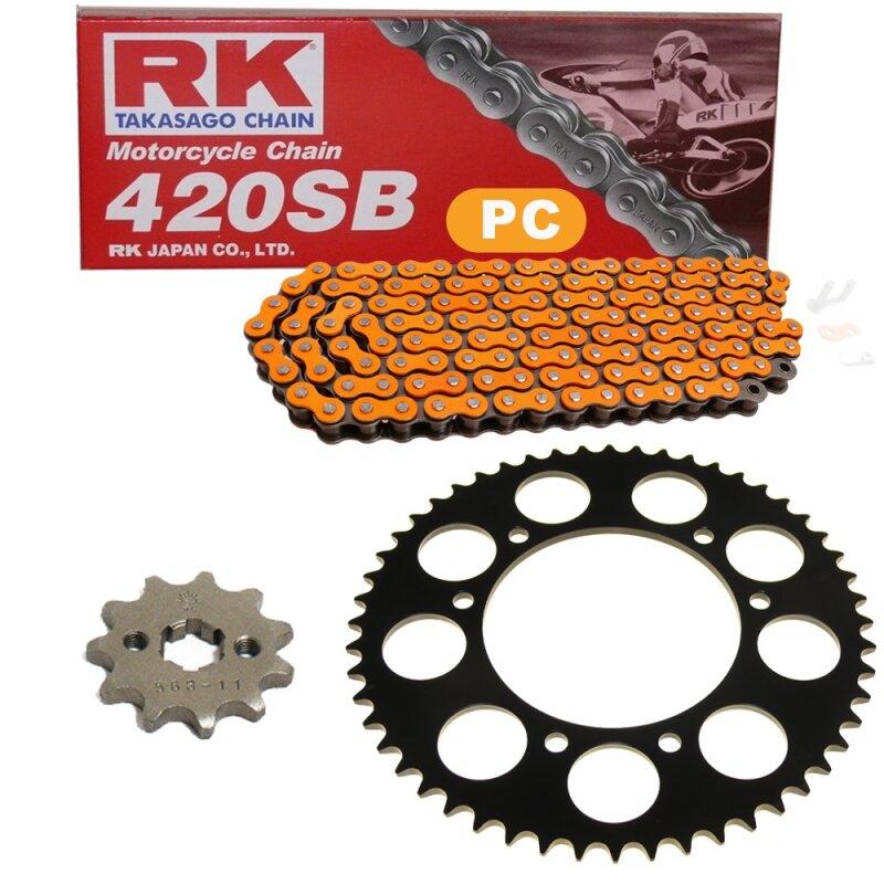 Kettensatz geeignet f/ür Derbi Senda 50 Enduro R X-Race 2005 Kette RK PC 420 SB 130 offen ORANGE 12//53