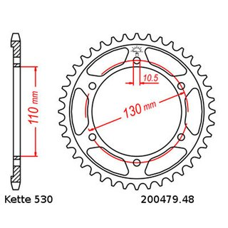 Aluminium rear sprocket with pitch 530 and 48 teeth JTA479.48