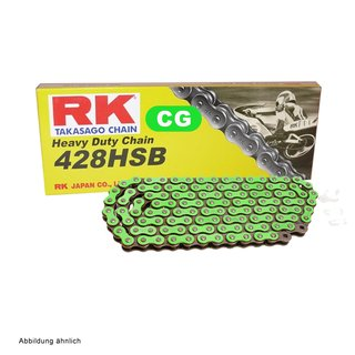 Motorcycle Chain in GREEN RK CG428HSB with 122 Links and Clip Connecting Link  open