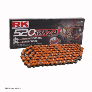 MotoCross Racing Chain in ORANGE RK 520MXZ4 with 112 Links and Clip  Connecting Link  open