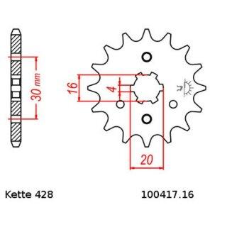 Ritzel 16 Zähne Kawasaki KMX 125 T. 428 MX125B 91-03