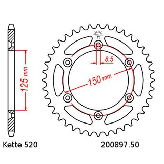 Chain and Sprocket Set KTM SX 360 96-97, Chain RK 520 XSO 118, open, 13/50