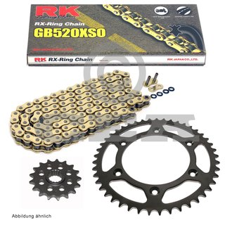 Chain set KTM SX 380 98-02, chain RK GB 520 XSO 118, open, GOLD, 14/50