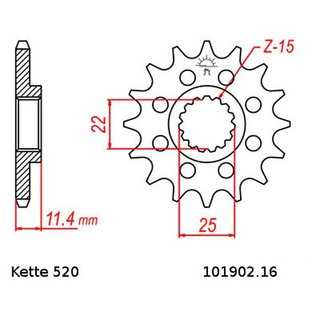 Chain set KTM Duke 400 94-95, chain RK GB 520 EXW 118, open, GOLD, 16/42