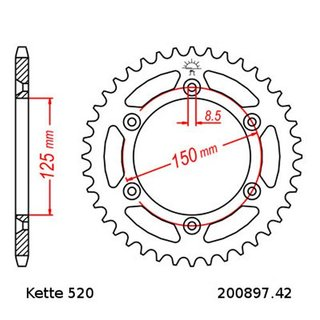 Chain Set KTM Duke 400 94-95, Chain RK 520 MXZ4 118, open, 16/42