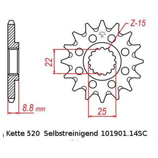 Chain and Sprocket Set KTM SMR 450 R Supermoto 04-07, Chain RK 520 MXZ4 118, open, 14/45