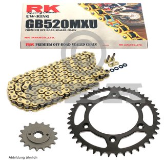 Chain and Sprocket Set KTM SX 450 2003, chain RK GB 520 MXU 118, open, GOLD, 14/50