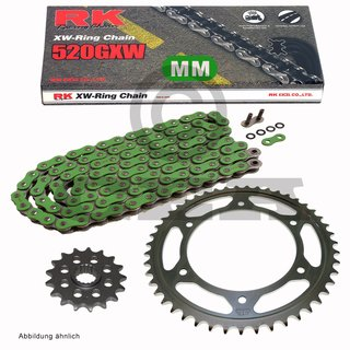 Chain and Sprocket Set  KTM SX 500 1995  Chain RK MM 520 GXW 118  GREEN  open  14/50