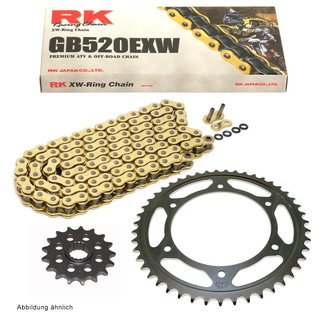Chain and Sprocket Set KTM SX 520 Racing 00-02, chain RK GB 520 EXW 118, open, GOLD, 14/48