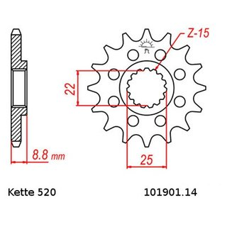 Chain and Sprocket Se KTM SXC 540 98-99, Chain RK 520 XSO 118, open, 14/45