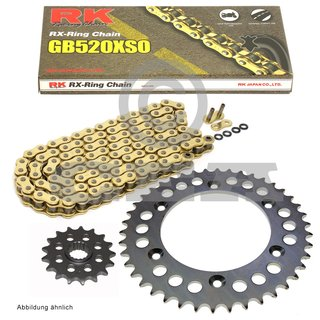 Chain and Sprocket Set KTM Duke 620 94-98, chain RK GB 520 XSO 118, open, GOLD, 17/38